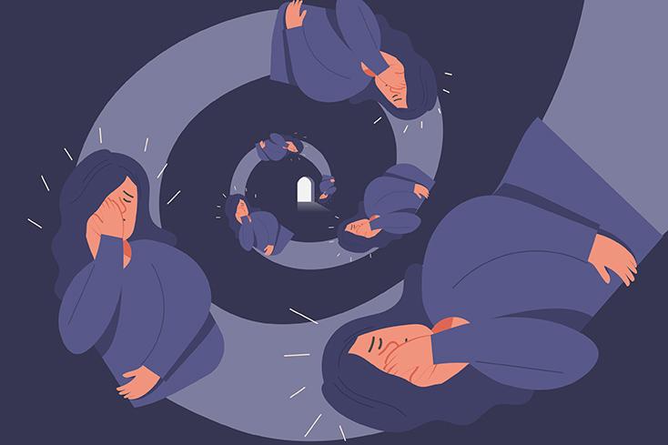 woman falling down spiral