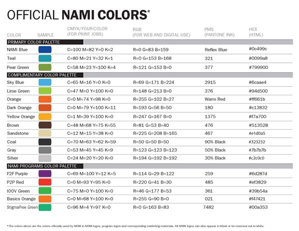 Official NAMI Colors