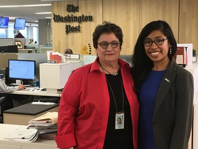 Amy Ellis Nutt, left, and Ryann Tanap at the Washington Post offices